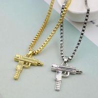 Wholesale uzi pendant necklace resale online - Fast shipping New Uzi Gold Chain Hip Hop Long Pendant Necklace Men Women Fashion Brand Gun Shape Pistol Pendant Maxi Necklace HIPHOP Jewelry