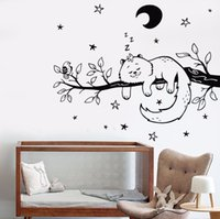 Wholesale tree branch vinyl wall art online - Newly Arrival Vinyl Wall Decal Europe Style Home Art Wall Cat Bird Tree Branch Night Stars Nursery Moon Stickers Hot Mural cm