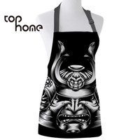 Wholesale canvas cleaner for sale - Group buy Tophome Kitchen Apron Japanese Samurai Mask Printed Adjustable Sleeveless Canvas Aprons for Men Women Kids Home Cleaning Tools