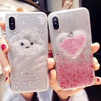 iphone cloud toptan satış-Sıvı Kalp Glitter Toz Gülümseme Yüz Bulutlar Telefon Kılıfları iPhone Için X XR XS Max 6 6 S 7 8 Artı Dondurma Yumuşak Dinamik Arka Kapak