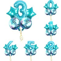 glückliche ballons groihandel-150pcs = 30set Große Karikatur Mermaid Folienballon Latex Little Mermaid 30inch Anzahl Set Ballons Girl Happy Birthday Party Geschenk Ballone