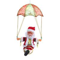 Wholesale musical christmas plush toys resale online - Creative Electric Christmas Santa Claus Toys Hanging Rotation Parachute Turn Musical Pendant Plush Toy