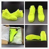 флуоресцентные зеленые баскетбольные туфли оптовых-Флуоресцентный зеленый летать вязание баскетбольная обувь 4s 2019 новое прибытие мода смотреть спортивный дизайнер унисекс тренер кроссовки