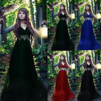 ingrosso vestito lungo gothic xl-2019 Abiti estivi per donna Rinascimento medievale Gotico Pizzo Scollo a V Cosplay Retro abito lungo Vestido Robe Femme 17