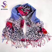 ingrosso sciarpa di stampa del leopardo blu-[BYSIFA] Leopard Print 100% sciarpe di lana avvolge le donne inverno blu rosa sciarpe lunghe Pashmina nuovo stile marchio nappa sciarpa scialle