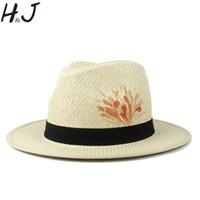 sombreros de pintura de la mano al por mayor-Sombrero de sol para mujeres 100% Pintura de mano Playa de paja de verano Sombrero de Panamá Moda Elegante Señora Queen Homburg Jazz Dropshipping