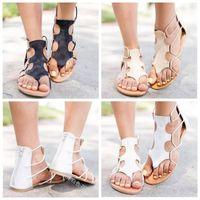 sapatos dedo para as mulheres venda por atacado-Sandálias boêmio Sapatos de Salto Plana Manual Contas Chinelo Dedos De Dedo Do Pé Furado Aperto Mulheres Artefato de Verão Cores Mix 30qyf1