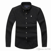 negócio longo da camisa da luva dos homens venda por atacado-Camisa POLO de manga comprida masculina Outono camisa de vestido de homens ocasional POLO camisas de cavalo pequeno moda camisa social negócio longo sle