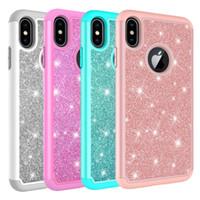 femme iphone achat en gros de-Pour iPhone Xs Max Case Femmes De Luxe Glitter Brillant Bling Hybride Doux TPU Dur PC Couverture Arrière Cas de Téléphone pour Iphone Xr