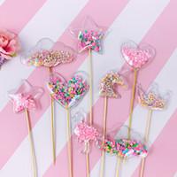 pastel de fiesta de hadas al por mayor-Bling Fairy PVC Cake Topper Unicorn Love Crown Cloud Shiny Flamingo Cupcake Topper para bodas Fiesta de cumpleaños Decoraciones de pasteles