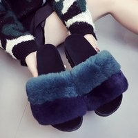 Wholesale fur shoes rabbit women resale online - 2019 Summer Rabbit Fur Shoes Women s Shoes Indoor And Outdoor Autumn And Winter Flat Comfortable Plush Word Sandals And Slippers Size