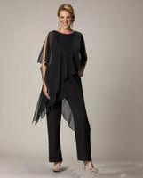 siyah şifon resmi ceket toptan satış-2019 Siyah anneler Pantolon Düzensiz Ceket Ile Suit Jewel Kılıf artı boyutu pantolon takım elbise Şifon Örgün Abiye