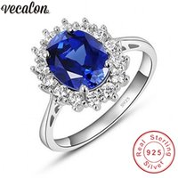 Wholesale diana engagement ring for sale - Group buy Vecalon Fine Jewelry Real Sterling Silver ring A Blue Zircon Cz Diana Engagement wedding Band rings for women Bridal
