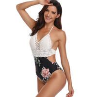 spitze taille badebekleidung großhandel-Frauenkleidung Sexy einteilige hohe Taille Bikini Blumen Lace Print Bademode Badeanzug Beachwear Floral Knit Bademode für Frauen Drop Ship