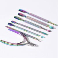 cuchara de arte al por mayor-Rainbow Nail Manicure Herramientas Removedor de piel muerta de acero inoxidable Lima de manicura Cortador Cuchara Cuticus Pusher Clipper Nail Art Tool HHA376