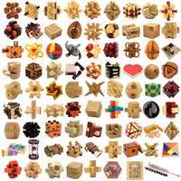 regalos entrelazados al por mayor-juguetes de madera de la novedad mágica del cubo del enigma Luban bloqueo 3D Interlocked rompecabezas del cubo de niños de Childs juguete inteligencia del regalo