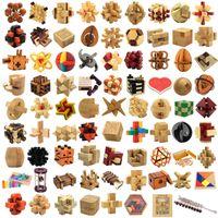 tren de ladrillos de construcción de plástico al por mayor-juguetes de madera de la novedad mágica del cubo del enigma Luban bloqueo 3D Interlocked rompecabezas del cubo de niños de Childs juguete inteligencia del regalo