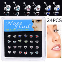 Wholesale colorful studs for ears resale online - Fashion Body Jewelry Nose Studs Heart Shape Nose Piercing Colorful Crystal Nose Rings For Women Ear Piercing Gift