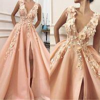 perles roses longues robes de soirée achat en gros de-2020 perles rose A-ligne col en V haute fente côté fleurs robes de soirée longue dentelle robe de bal robe de soirée formelle