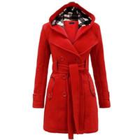 points de broderie en laine achat en gros de-2018 Automne Élégant Vintage Mode Bureau Dame Femmes Manteaux Slim Plaine Ceinture Filles D'hiver Chaud Gris Femelle High Street Manteaux