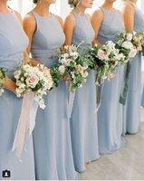 ingrosso vestito lungo dal manicotto blu del bambino-Baby Blue Impero Mezzo Bridesmaids Abiti Lunghi Jewel Cap Sleeve Chiffon Wedding Guest Dress abiti da damigella d'onore Maid Of Honor