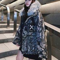 gepolsterte hüften für frauen groihandel-Winter Plus Größe Frauen-Mantel Hip Street Camouflage Printed Padded Jacke Pelzkragen Pullover Warm Outwear Thick Parka