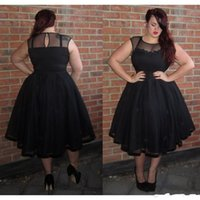 Wholesale special occasion dresses for women for sale - 2019 New Black Plus Size Prom Dresses Sexy Sheer Special Occasion Party Dress A Line Tulle Evening Gowns For Women