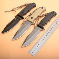 tam titanyum bıçak toptan satış-Yeni Varış M-01 Survival Düz Bıçak 8Cr13 Titanyum Kaplı Bırak Noktası Bıçak Tam Tang Kydex Ile ABS Kolu Sabit Bıçak