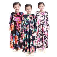 vêtements de style bohème pour les enfants achat en gros de-Fille Bohème Princesse Dress 2019 Printemps Automne À Manches Longues Enfants Floral Dress Vêtements Pour Bébés INS enfants fleur imprimer Beach Dress C6371