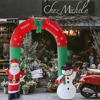 gonflables de noël en plein air achat en gros de-Arc gonflable Père Noël Bonhomme de neige Noël Ornements extérieurs Noël Fête du Nouvel An Maison Boutique Cour Jardin Décoration