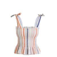 top de encaje de espagueti al por mayor-2019 Mujeres Streetwear Striped Crop Top Correa Spaghetti Sexy Tank Top Camisola Feminina Lace Up Cami