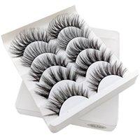 moda cílios venda por atacado-Nova moda 3D cílios postiços 5 pares / lote naturais macias tridimensionais multi-camada de maquiagem grosa cílios olho 7 modelos para a escolha