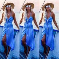 vestido maxi a rayas sin espalda al por mayor-2019 Vestido de playa de verano Ropa de mujer Tallas grandes Vestido de raya para mujer Vestido de fiesta sin respaldo para mujer Vestido maxi para mujer
