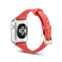 deri bel bandı toptan satış-İnce Bel Hakiki Deri Kayış Apple Watch Band Serisi 4 3 2 1 Iwatch için Bilezik Toka 40mm 44mm 42mm 38mm