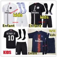 Wholesale jersey soccer children resale online - Top kids kit soccer jersey maillot psg rd Soccer jersey child Maillot de foot psg kids MBAPPE football shirt vest kits