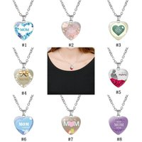 Wholesale love shaped necklace for sale - Group buy Hot sale Love You MOM Necklace Glass Heart Shape Necklace Pendants Best Mom Ever Fashion Jewelry Mother Gift