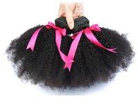 cabelo humano peruano não processado venda por atacado-Cabelo Humano Encaracolado Afro Brasileiro Não Transformados Brasilain Afro Kinky Curly Bundles Barato 8A Malaio Peruano Virgem Tecer Cabelo Humano FZP214