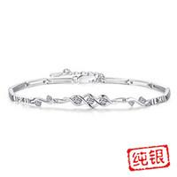 ingrosso gioielli scatole angeli-Moda angelo cuore argento 925 gioielli braccialetto argento coreano femminile handwear braccialetto gioielli all'ingrosso con scatola