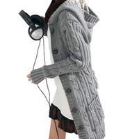 kazak kadın uzun örgü toptan satış-Kemer ile Kadın Uzun Kollu Kış Sıcak Triko Örme Hırka 2016 Moda Gevşek Triko Dış Giyim Ceket Kaban