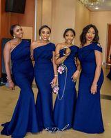 um vestido de casamento varredura de ombro venda por atacado-Azul de Um Ombro Sereia Vestidos de Dama de Honra Trem Da Varredura Simples Jardim Africano Country Wedding Convidado Vestidos de Dama De Honra Vestido Plus Size