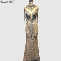 vestidos colinas à noite venda por atacado-Dubai Beading Tassel Luxo Sexy Vestidos de Noite 2019 Silve Rsleeveless High-end Vestidos de Noite Serene Hill La60811 Y190525