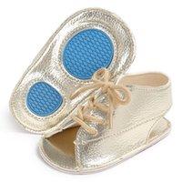ingrosso bambini piccoli sandali marroni-Estate Baby Girls Boys Pu sandali in pelle Lace Up Sandalo Baby Peep Toe piatto di marca Toddler Beach Brown Shoes