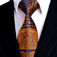 военно-морской галстук золотой галстук оптовых-Multicolor Brown Gold Yellow Navy Blue Pink White Beige Floral Mens Ties Necktie 100% Silk Tie Set Hanky Free Shipping Wholesale