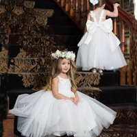 Wholesale wedding dresses lace bow online - 2019 Lovely White Flower Girls Dresses Jewel Sleeveless Back With Big Bow Birthday Gowns Tiered Ruffle Custom Made Formal Party Gowns