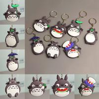 fãs do metal japonês venda por atacado-Anime Comic Totoro Hayao Miyazaki Chaveiro Duplo Lado Pvc Silicone Chave Chian Japonês Anime Totoro Cinza Chaveiro Saco de Brinquedos para Os Fãs