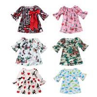 Wholesale dress housings online – custom Baby Girl Designer Dresses Printed Letter Animal Dress House Polyester Bow Half Bell Sleeve A line Skirt