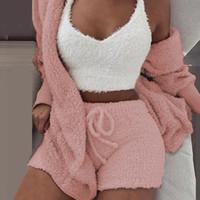 Sfit Soft Long Plush Set Long Sleeve Jacket Women Sexy Crop Top Shorts Suit 2019 New Lady Leisure Sports Sets