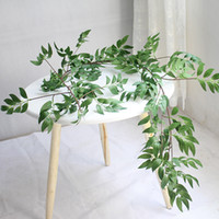 folhas verdes de plástico venda por atacado-1.7 M de Simulação Plantas Vilosas Folha De Videira De Salgueiro De Vime Pendurado Planta Verde Casa Decoração Flores Artificiais de Plástico Rattan Sempre GGA2528
