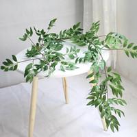 vides de flor artificial verde al por mayor-1.7M Simulación Willow Vine Leaf Plantas artificiales Mimbre Colgando Planta verde Decoración para el hogar Flores artificiales de plástico Rattan Ever GGA2528