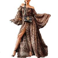 vestidos casuales estampado de leopardo al por mayor-2019 Nueva Llegada de Las Mujeres Leopardo Vestido Impreso Fiesta Sexy Para Mujer Vestidos Largos Verano Primavera Streetwear Mujeres Sexy Leopardo Vestido de Split